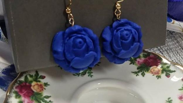 Dark Blue Signature Rose Earrings