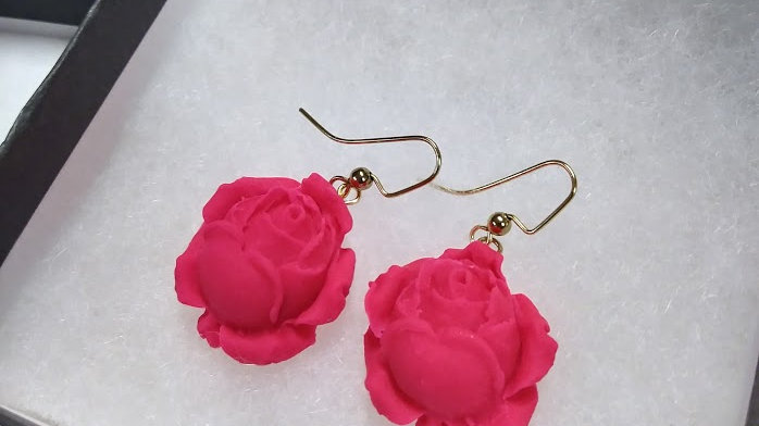 Hot Pink Signature Rose Earrings