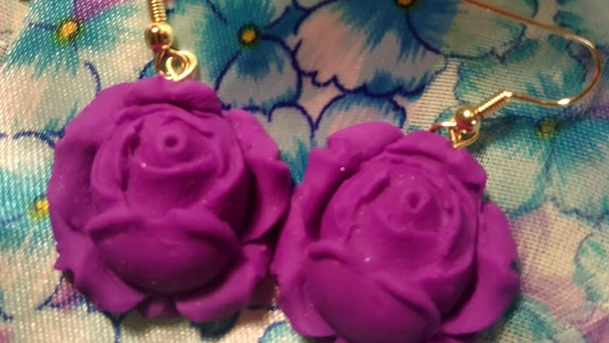 Vibrant Purple Signature Rose Earrings