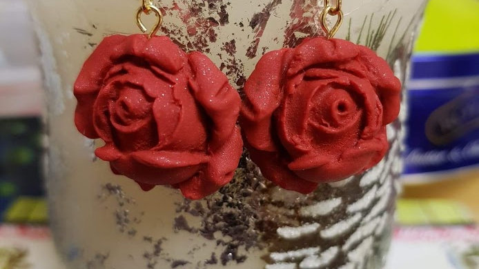 Sparkling Red Signature Rose Earrings