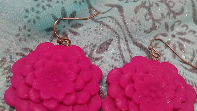 Bright Pink Large Flower Earrings