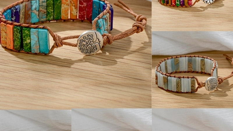 Natural Stone Leather Beaded Handmade Chakra Tree of Life Healing Yoga Bracelet