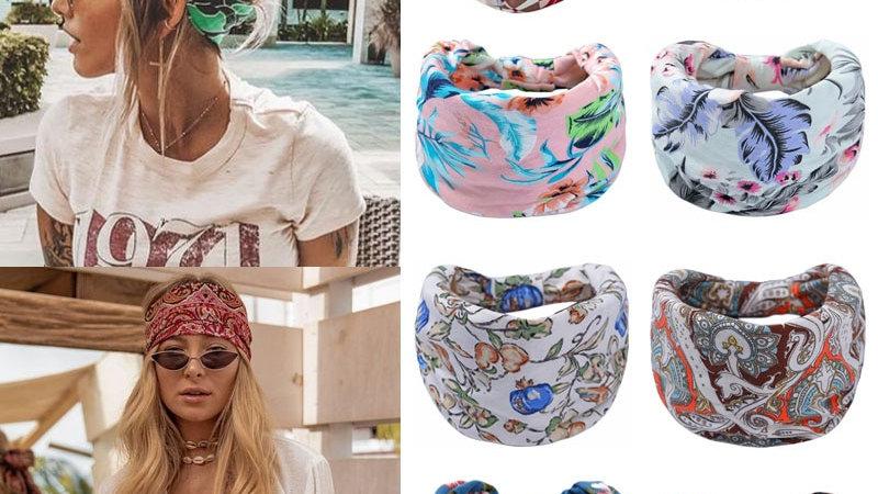 Bohemian Wide Stretch Headwrap Turban Headwear Bandana Hair Accessories