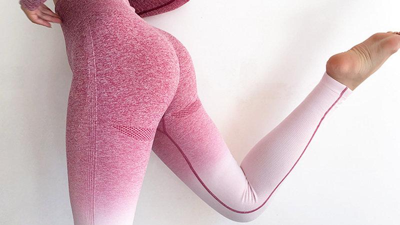 Seamless High Waist Ombre Yoga Pants  Gym Leggings