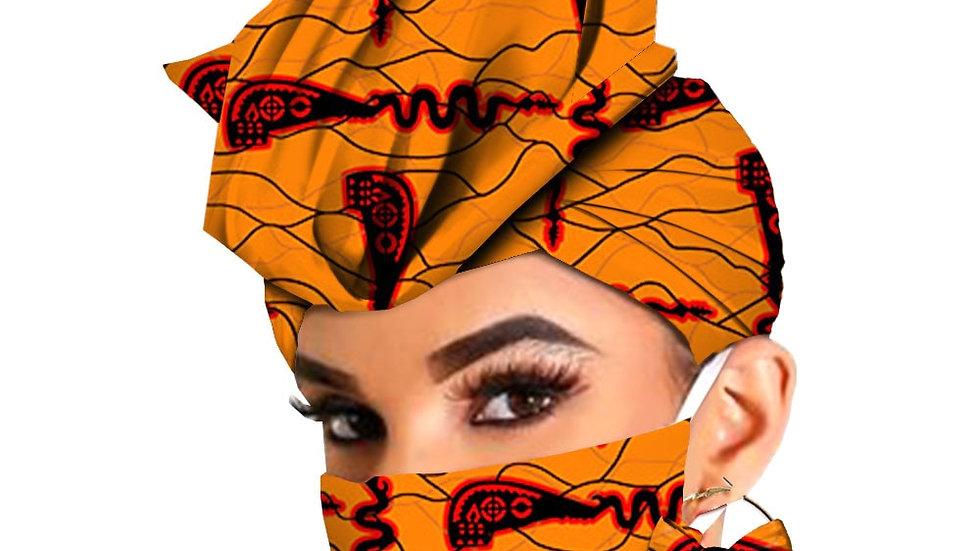 African Headwraps Earrings Print Headtie Ankara Wax Batik Accessories Mask