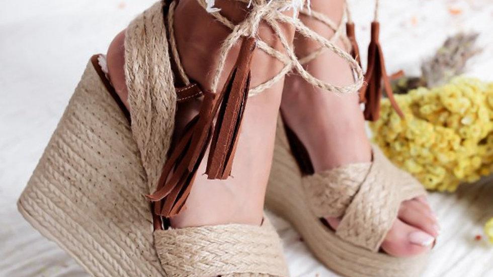 Bohemia Style Retro Sandals Women Summer  Straw Weave Buckle High Platforms