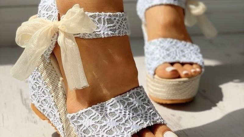 Summer Platform Wedge Sandals Ankle Strap Fish Mouth Espadrilles