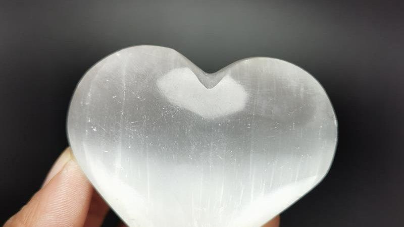 Polished Carving White Selenite Crystal Heart Quartz Crystals