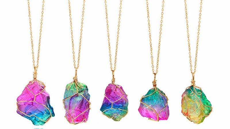 Trendy Gold Multicolour Natural Stone Chain Necklace Rhinestone Pendant