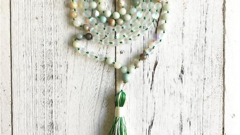108 Mala Beads Necklace Amazonite & Mystic Aura Quartz Knotted Tassel Necklace