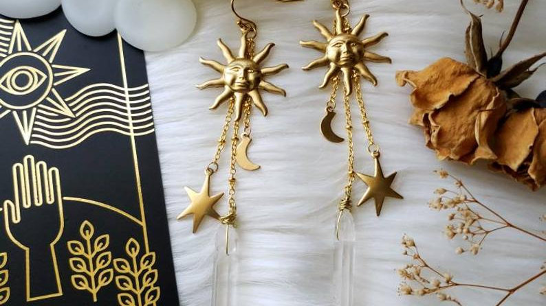 Celestial Quartz Earrings // Stars // Moon // Boho Hippie // Bohemian Jewelry