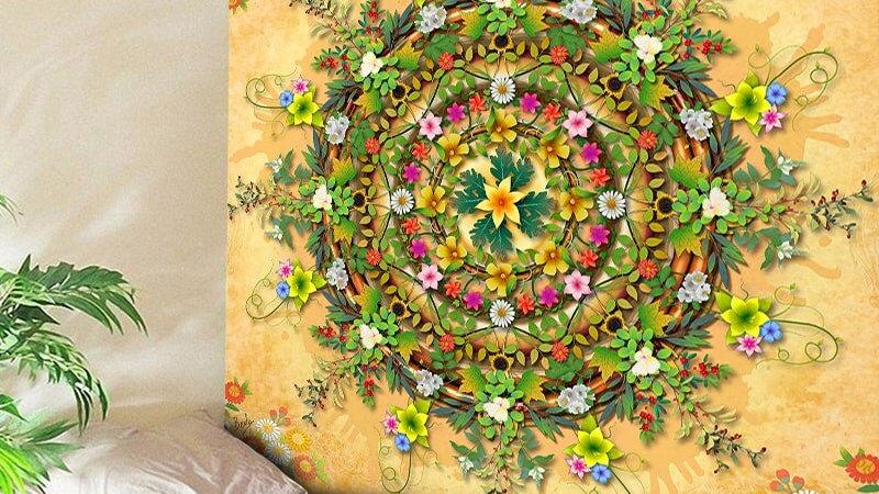 Mandala Tapestry Flower Tapestry Boho Decor Art Beach Yoga Mat