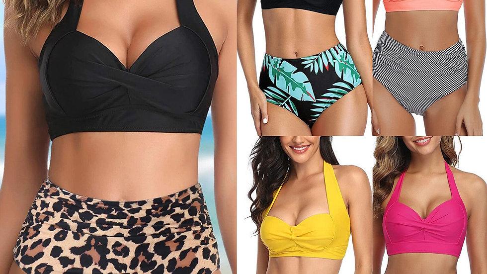 Bikini Vintage Swimsuit Two Piece Retro Halter Ruched High Waist
