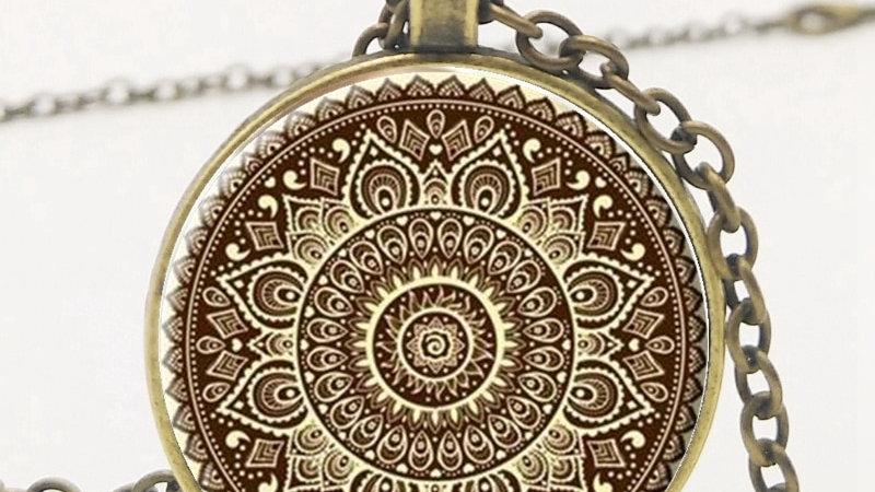 Love Necklace Vintage Glass Cabochon Pendant Buddhism Meditation Mandala