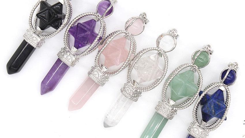 Natural Stone Crystal Quartz Merkaba Meditation Hexagon Pendulum Pendant