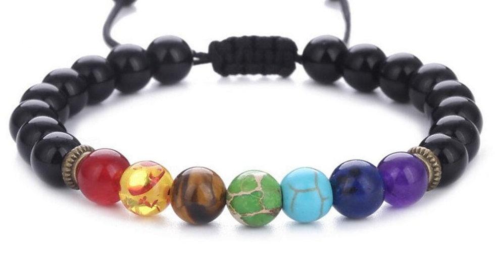7 Chakra Healing Heart Charm  Mala Beads Adjustable Bracelet