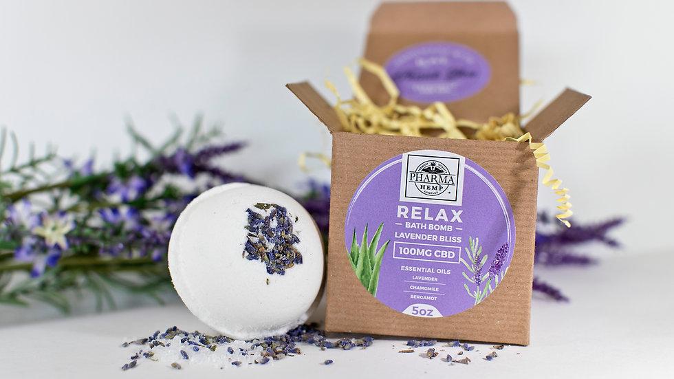 Relax- 100 mg CBD Bath Bomb- Lavender & Aloe