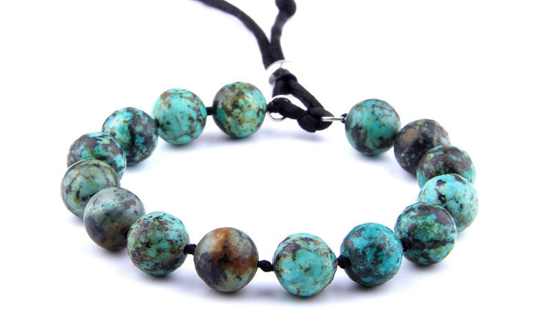 Natural African Turquoise Beads Bracelets Adjustable Bracelet Chakra Energy