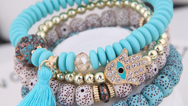 4pcs Boho Evil Eye Pendant Charm Beads Bracelets Set Women Lava Stone Bangles