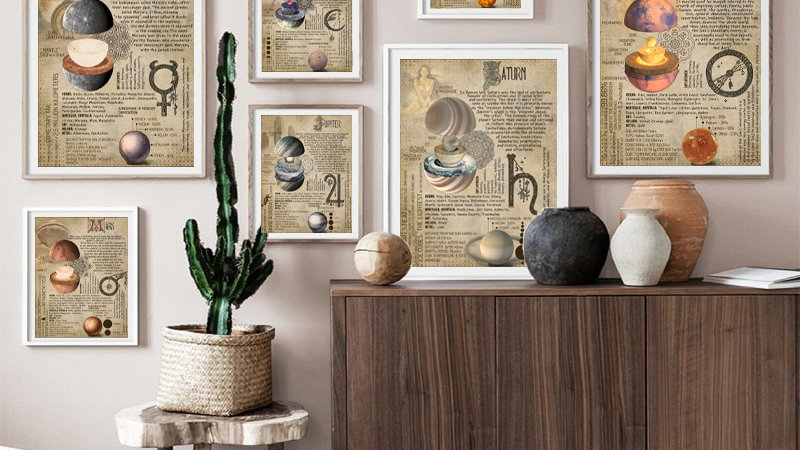 Planetary Magickal Prints Book of Shadows  Poster Astrology  Canvas Painting
