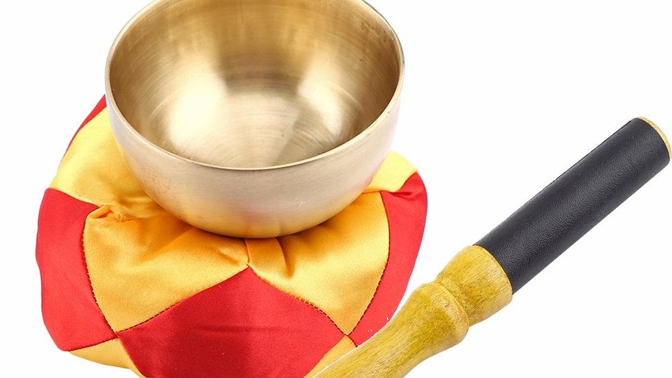 Tibetan Singing Bowl Cushion Wood Stick Meditation Brass Vintage Home Decorative