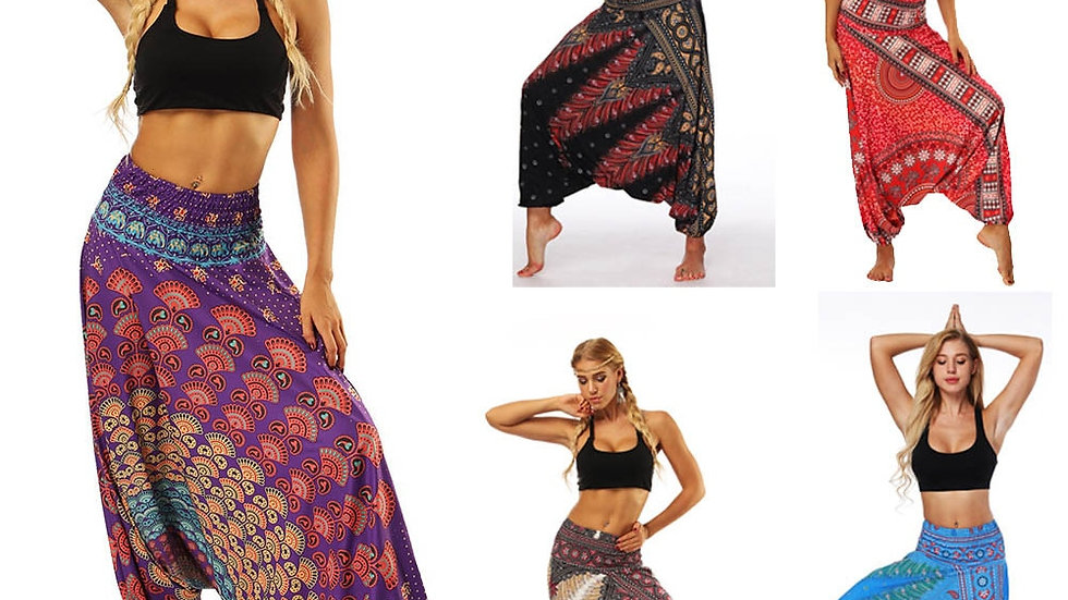 Harem Pants Ladies  Loose Trousers Boho Print Casual Fashion