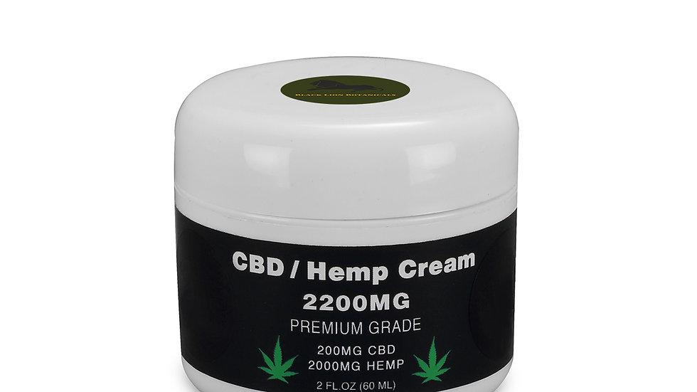 CBD / Hemp Seed Oil Cream Premium - 200MG CBD - 2000MG Hemp - 2 OZ