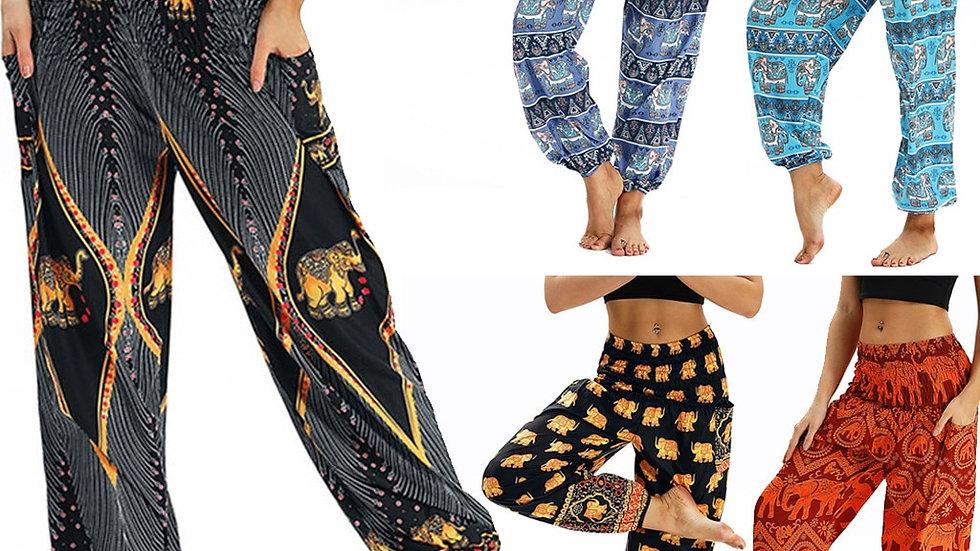 Bohemian Women Print Travel Lounge Festival Beach High Waist Pant 10 Colors