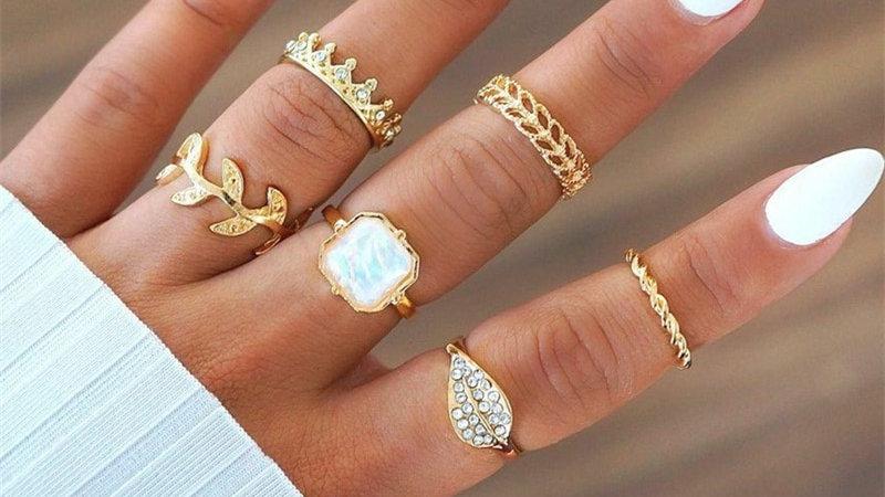 Bohemia Geometric Fashion Silver Colour Gold Color Finger Rings Sets  Jewelry