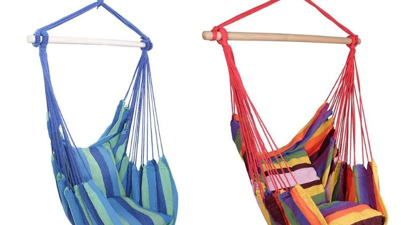 Indoor Outdoor Hammocks Hanging Swing Chair Rocking Patio Chair With 2 Pillows