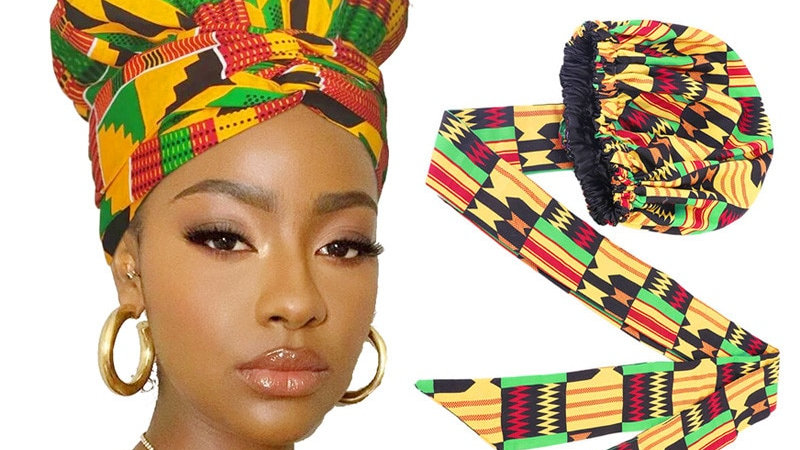 New African Headwrap Hair Accessories Scarf Wrapped Head Turban Ladies