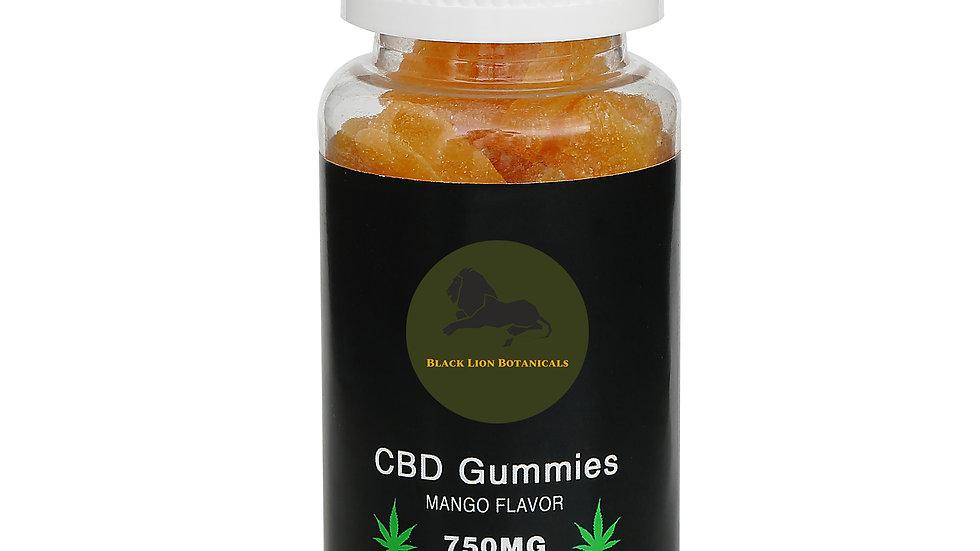 CBD Gummies - Mango Flavor - 750MG CBD - 100% Natural - 30 Gummies