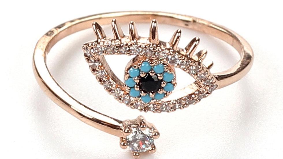 EVIL EYE ROSE GOLD Copper Evil Eye Micro Pave Ring