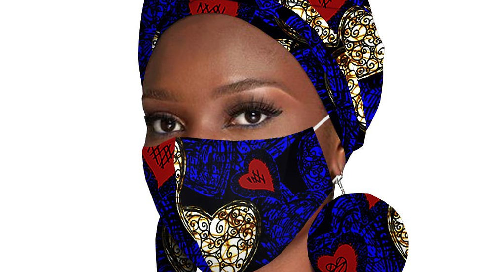African Headwraps Earrings Print Ankara Wax Fabric and African Mask