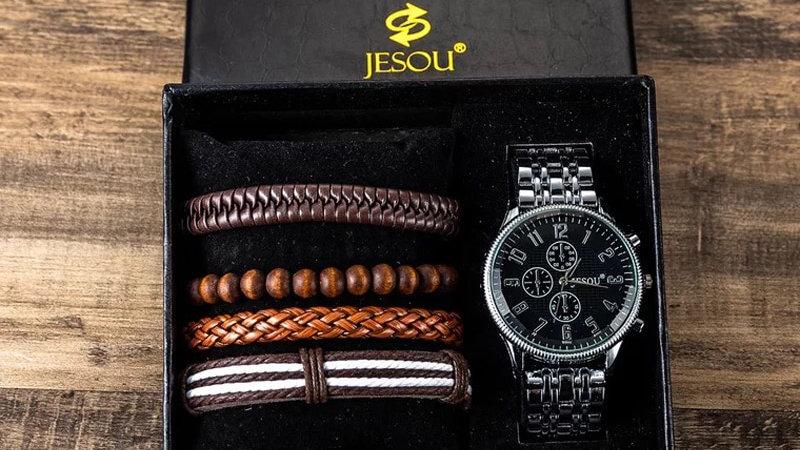 Watch Set Men Steel Band Quartz Sport Wristwatch With Various Hand Woven Bands