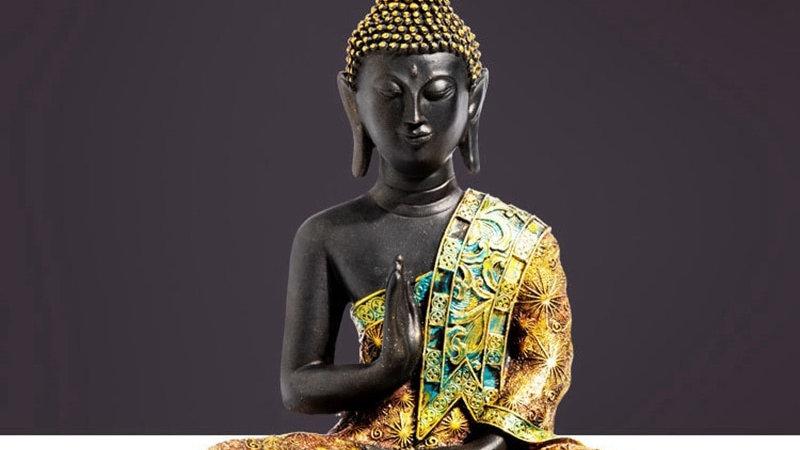 Buddha Statue 16cm & 20cm Sculpture Green Resin Hand Made Figurine Meditation