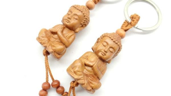 Mahogany Three-Dimensional Engraved Key Chain Lifelike Buddha  Pendant Key Ring