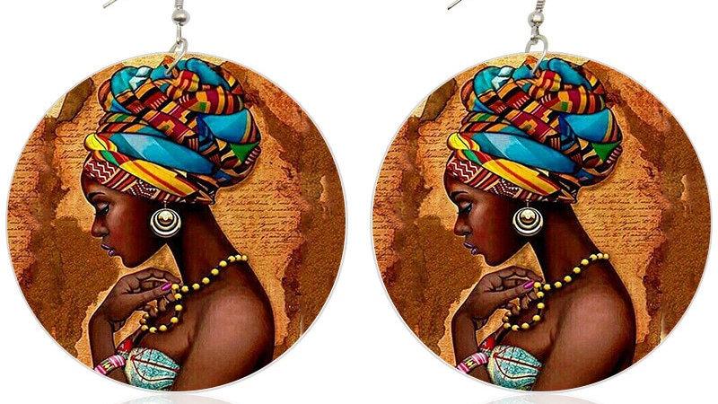African Headwrap Wood Drop Earrings Afrocentric Jewelry