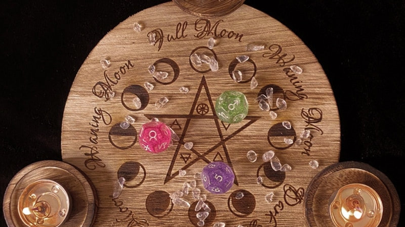 Wooden Candle Holder Astrology Altar Plate Divination Magic Candlestick Holder