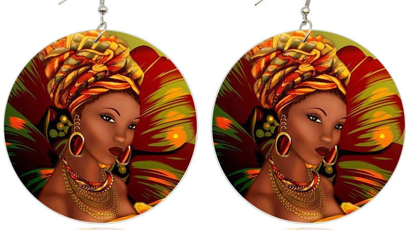 Black Art Wooden Drop Earrings  6cm Flat Round Handmade Dangle Jewelry