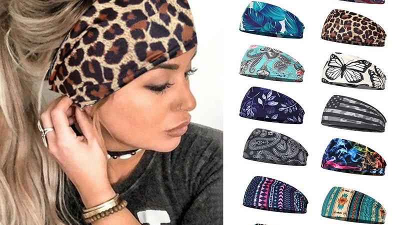 Women Headpiece Stretch Turban Hair Accessories Print Wide Headwrap