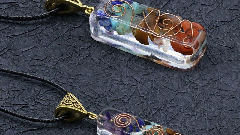 7 Chakras Crystals Stones Orgone Pendant Energy Orgonite Necklace