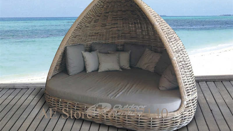 Patio Furniture Rattan Round Bed
