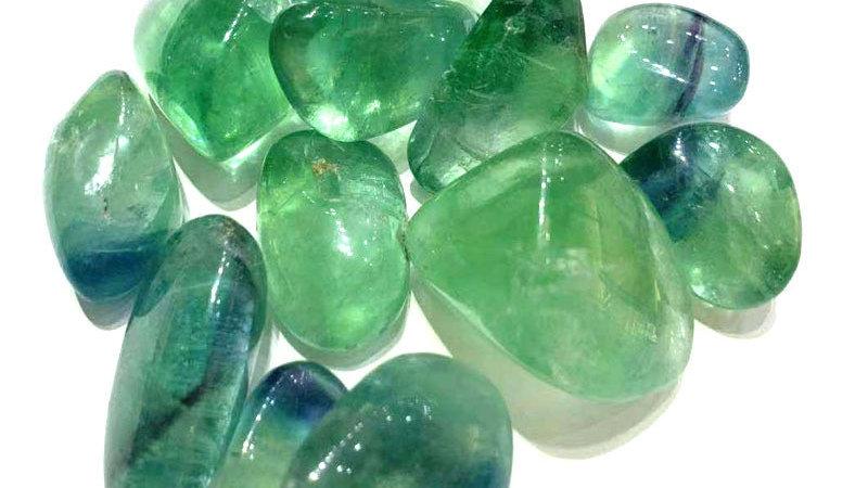 100g15-35mm Natural Green Fluorite Quartz Crystal  Polished