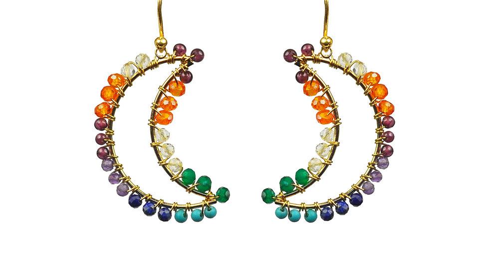 Chakra Crecent Moon Earrings