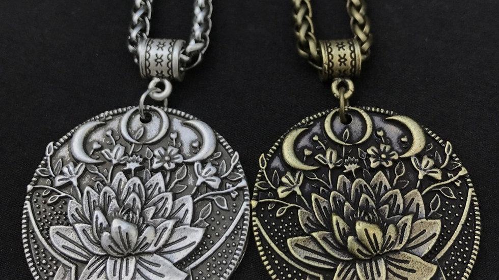 Yoga Spiritual KARMA Buddha Wiccan Lotus Flower Wicca Moon Necklace  Jewlery