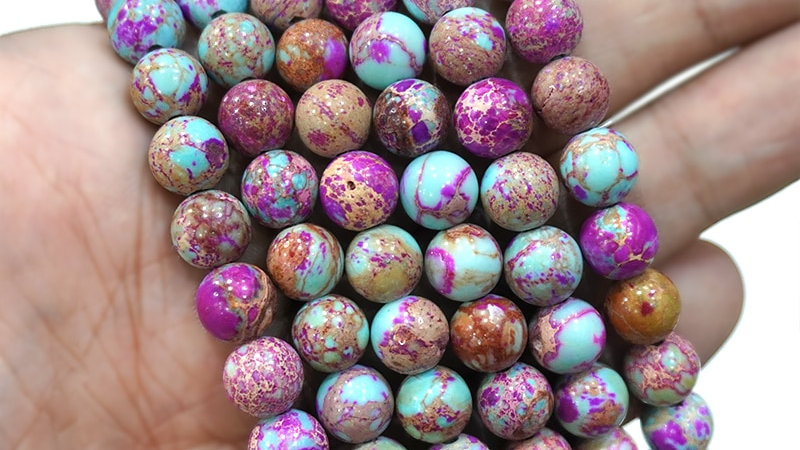 """Natural Violet Imperial Jaspers Round Beads Sea Turquoises 15"""" Inch 4/6/8/10mm"""