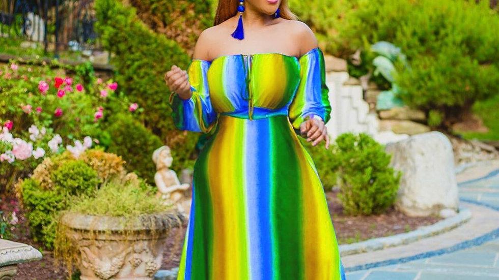 ChocoMist Dress Bohemian Striped Maxi Dress