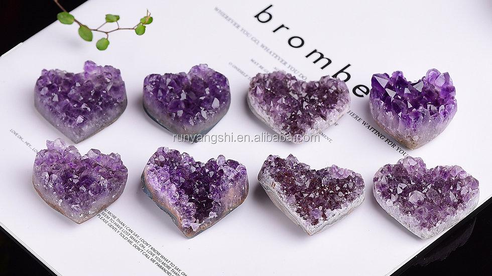 Natural Amethyst Crystal Geode Amethyst Cluster Heart Healing Crystals