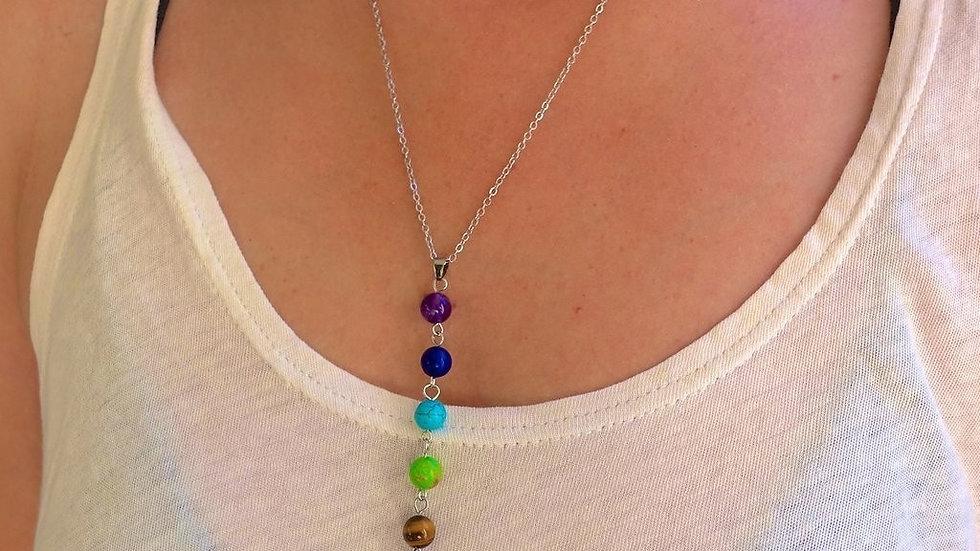 7 Chakra Stones Reiki Healing Point Charm Pendant  Semi Precious Stone Necklace